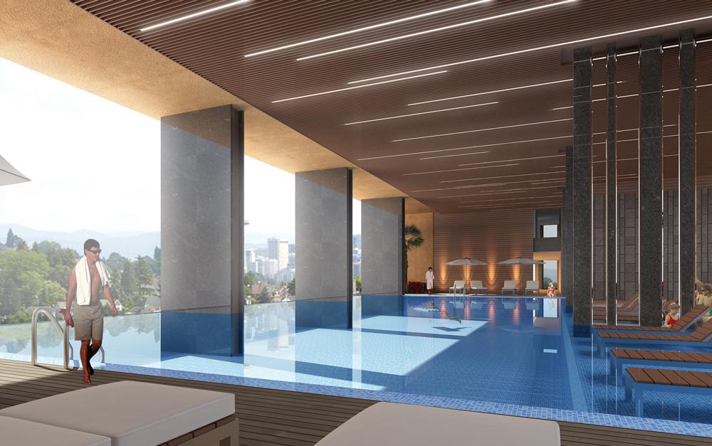 hồ bơi lầu 8 căn hộ 251 Hoàng Văn Thụ