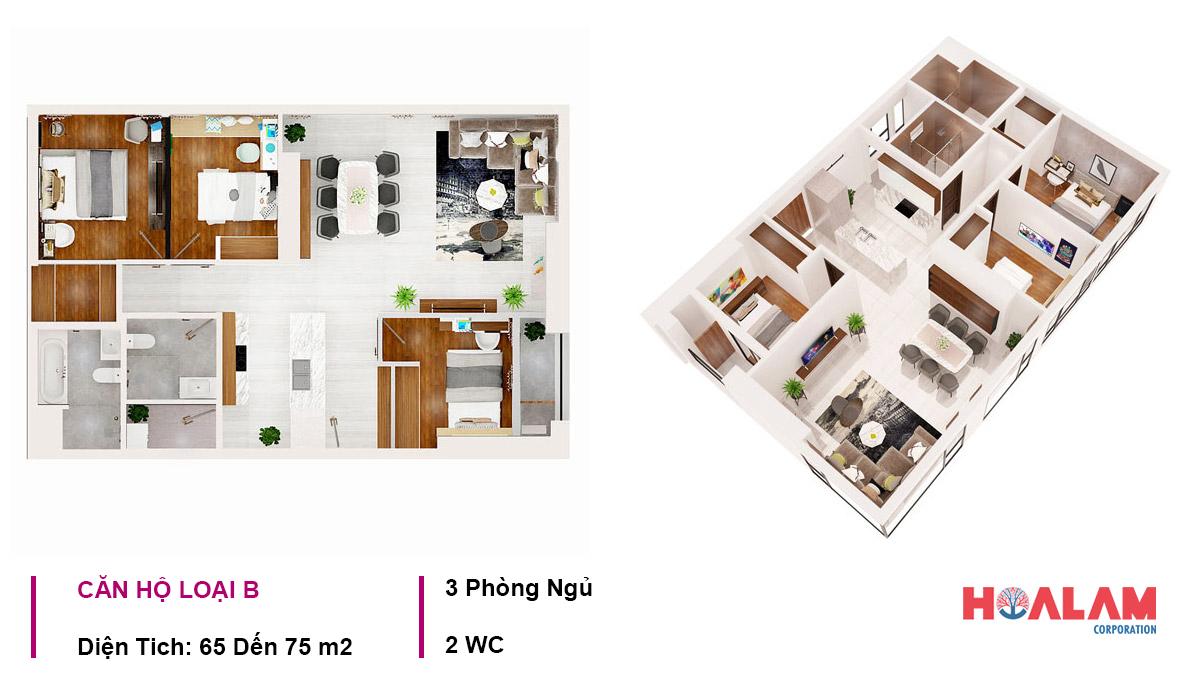 Thiết kế căn hộ 3PN - 2WC căn hộ Aio City Bình Tân