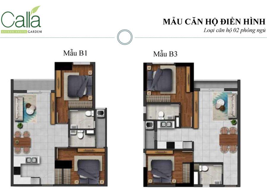 căn hộ 2 phòng ngủ dự án căn hộ Calla Garden Bình Chánh