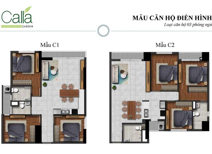căn hộ 3 phòng ngủ dự án căn hộ Calla Garden Bình Chánh