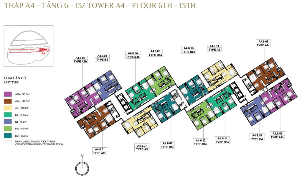 Mặt bằng tầng điển hình tháp A4 Daimond Alnata Celadon City