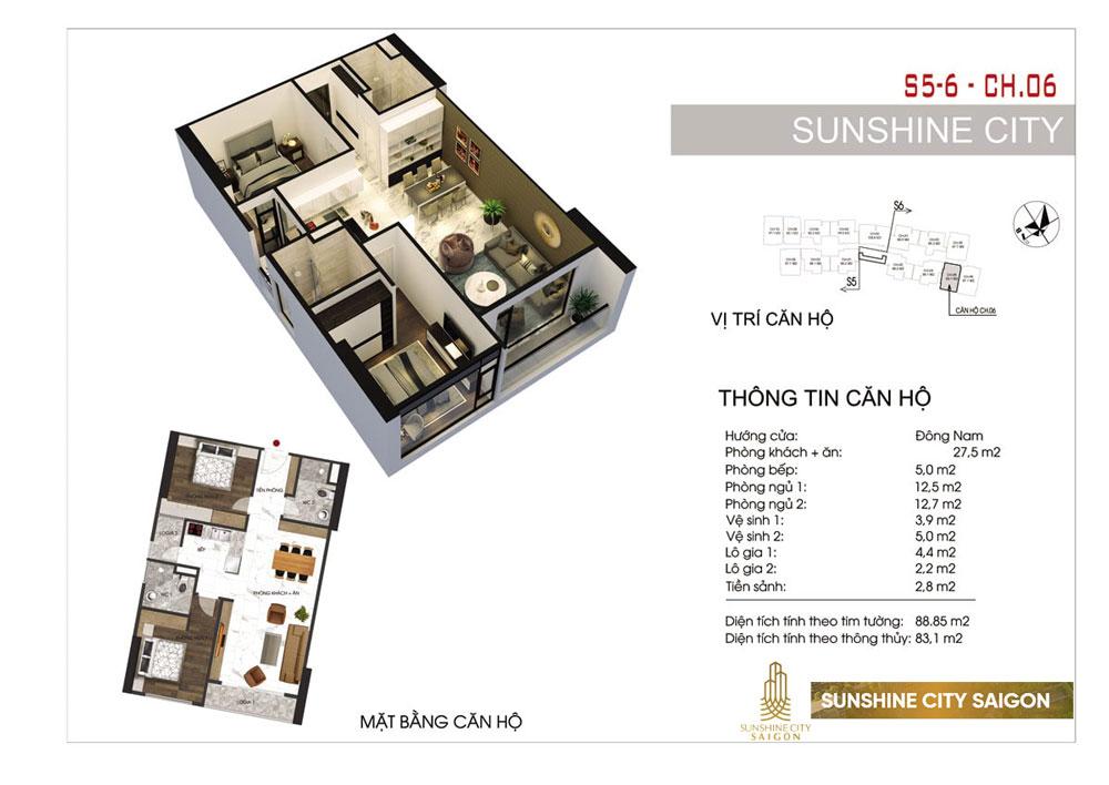 Thiết kế căn hộ 2PN 2VS dự án Sunshine City quận 7
