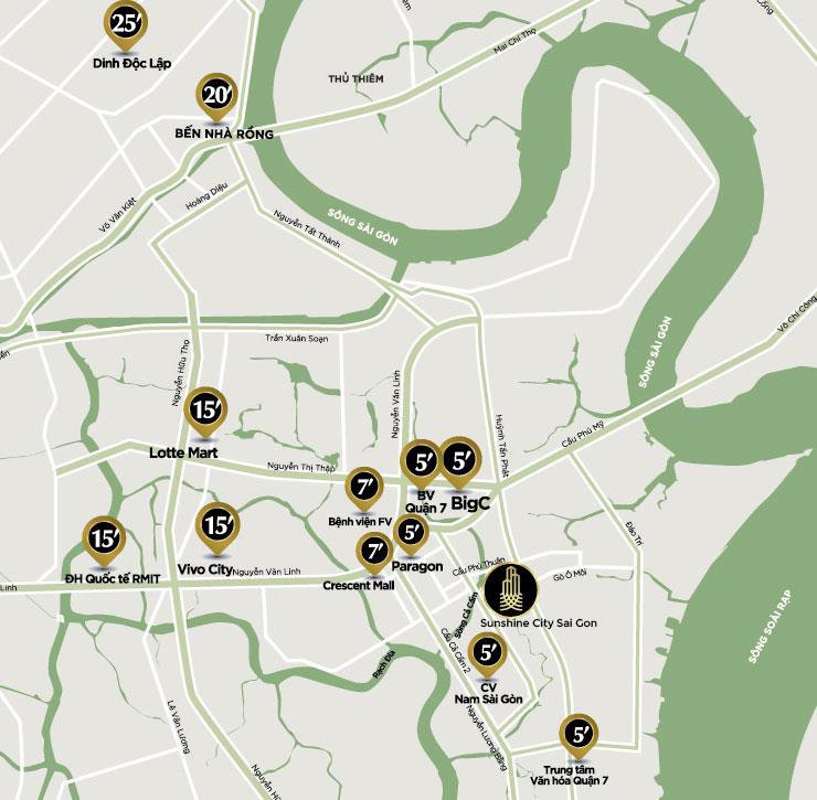 vị trí dự án sunshine City quận 7