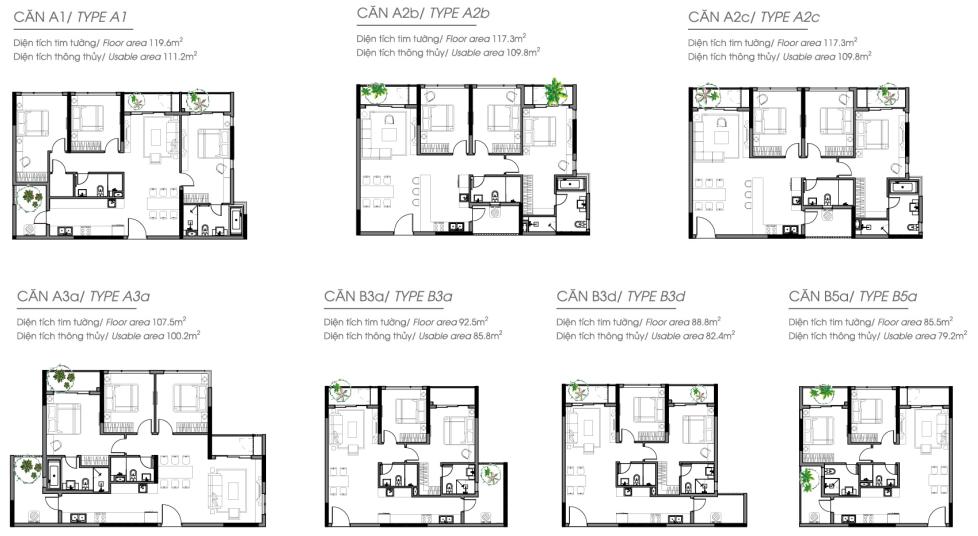 Thiết kế căn hộ tầng điển hình 6-13 tháp A2 và A3 Daimond Alnata Celadon city
