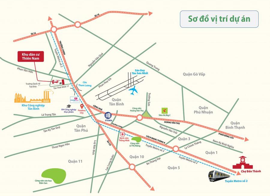 vị trí dự án đất nền Thiên Nam Residence