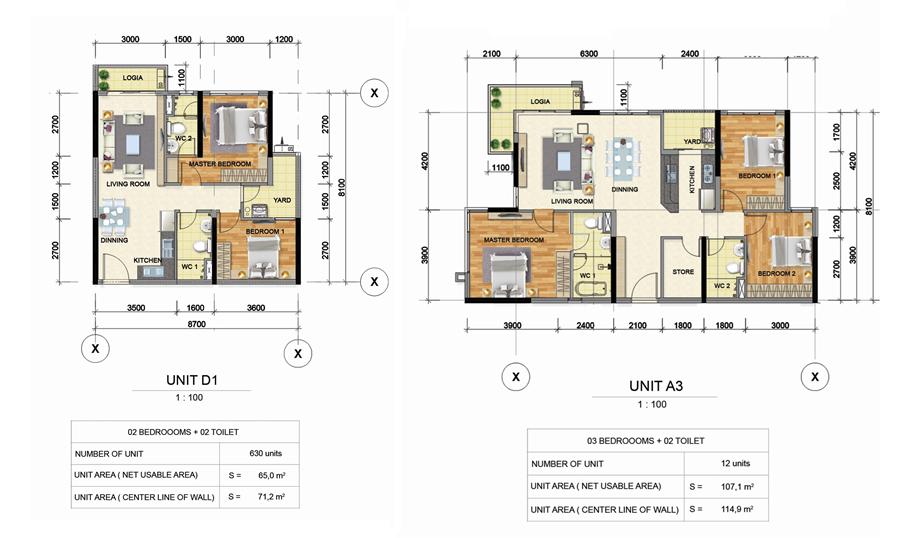 thiết kế căn hộ 2PN, 3PN Emeral Precinct - Celadon City